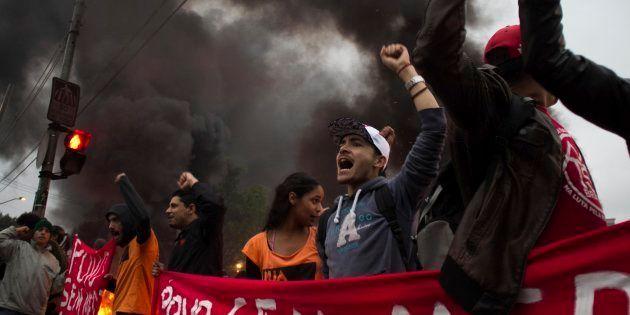 Protesto em São Paulo, na greve geral contra reformas do governo de Michel