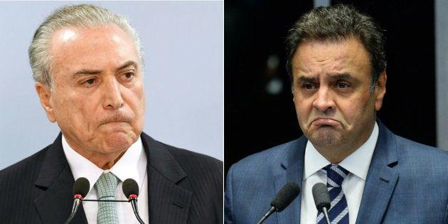 Presidente Michel Temer e senador afastado Aécio Neves (PSDB) estão entre os citados na delação da