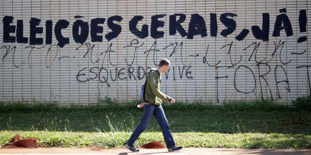 Muro em na Esplanada dos Ministérios com o pedido