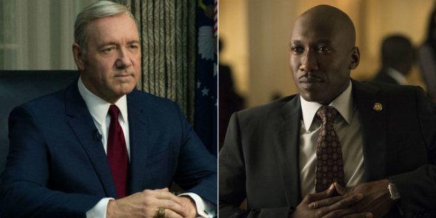 Personagens da série House of Cards, presidente dos Estados Unidos, Frank Underwood, e o lobista Remy