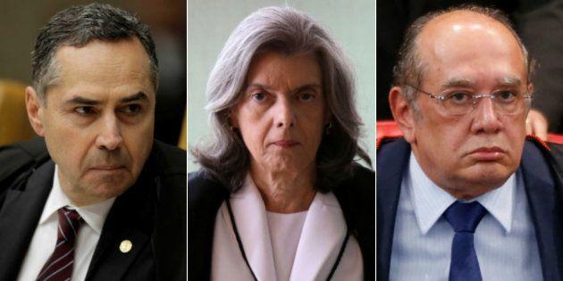 Ministros dos Supremo Tribunal Federal: Luís Roberto Barroso, Cármen Lúcia e Gilmar
