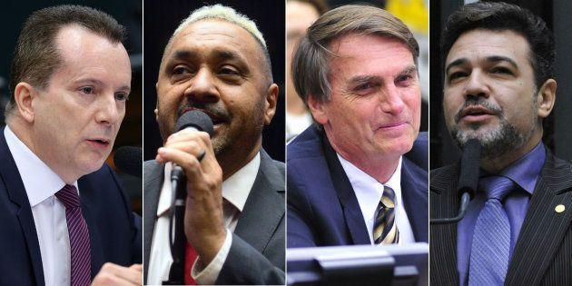 Celso Russomano (PRB-SP), Tiririca (PR-SP), Jair Bolsonaro (PSC-RJ) e Marco Feliciano (PSC-SP) foram...