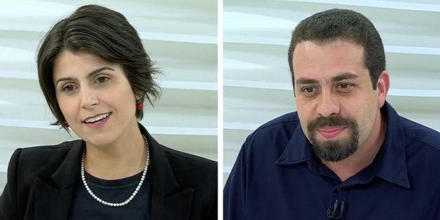 Manuela D'Ávila (PCdoB) e Guilherme Boulos (PSOL) durante participação no Roda Viva, da TV