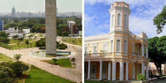 Apesar de continuar bem à frente de outras universidades brasileiras, a USP (à esq.) caiu uma posição...