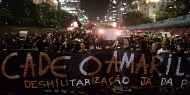 Protesto contra o desaparecimento do pedreiro Amarildo de