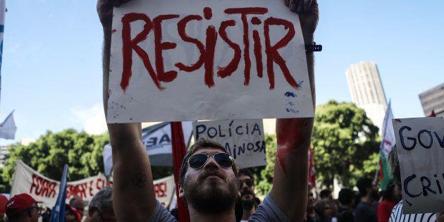 Protesto no Rio de Janeiro contra as reformas trabalhista e da