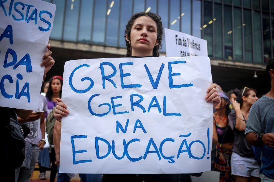 Manifestação de professores, em São