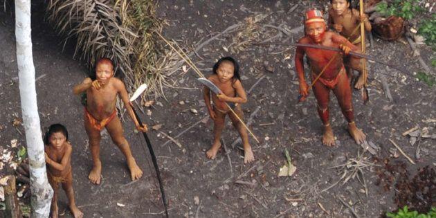 Índios isolados da Amazônia brasileira, imagem aérea em