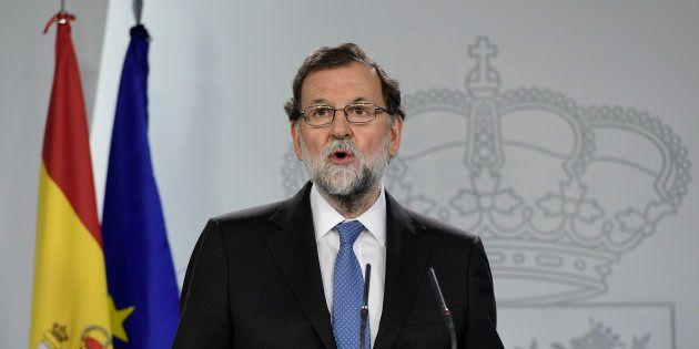 O primeiro-ministro Mariano Rajoy anunciou as medidas estabelecidas pelo Conselho de Ministros diante...