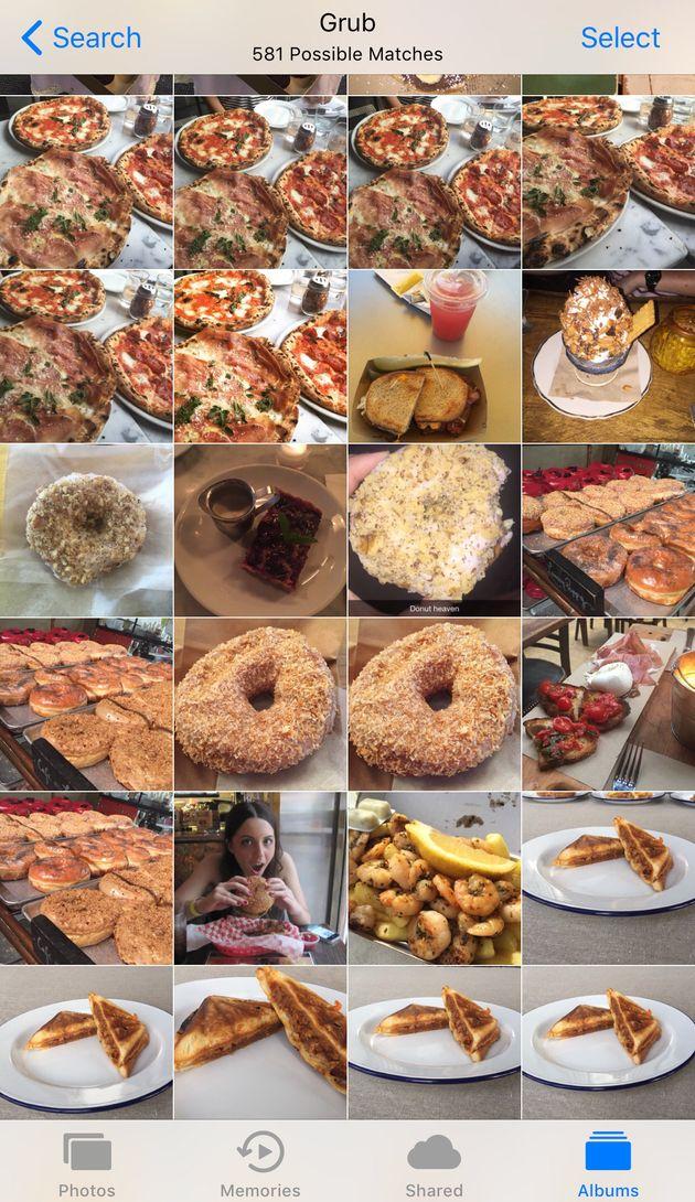 Olha só, muita comida aqui, mas por que o iPhone chama de 'boia'? Ou descreve a comida como