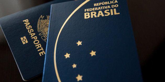 Sao Paulo, Brazil, June 28, 2017. Brazilian passport. 2 different models in dark and clear