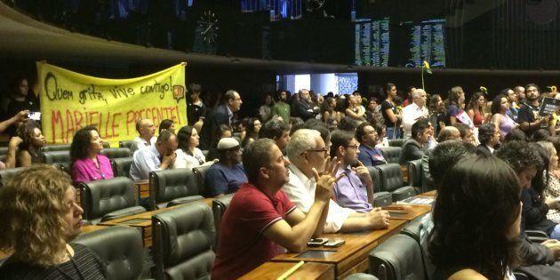 Sessão solene na Câmara dos Deputados em homenagem à vereadora Marielle Franco (PSol), assassinada no...