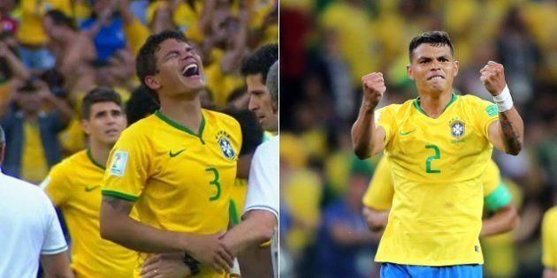 Thiago Silva chorando em 2014 e vibrando 4 anos depois: volta por cima de um dos melhores zagueiros do