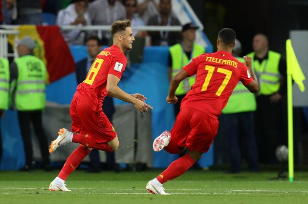 Belgas comemoram gol que deu a vitória sobre a