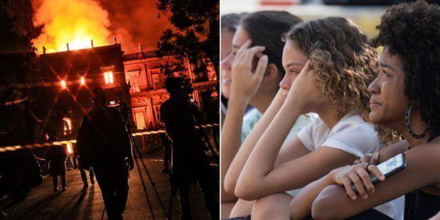Estudantes choram pela destruição do Museu Nacional do Rio de