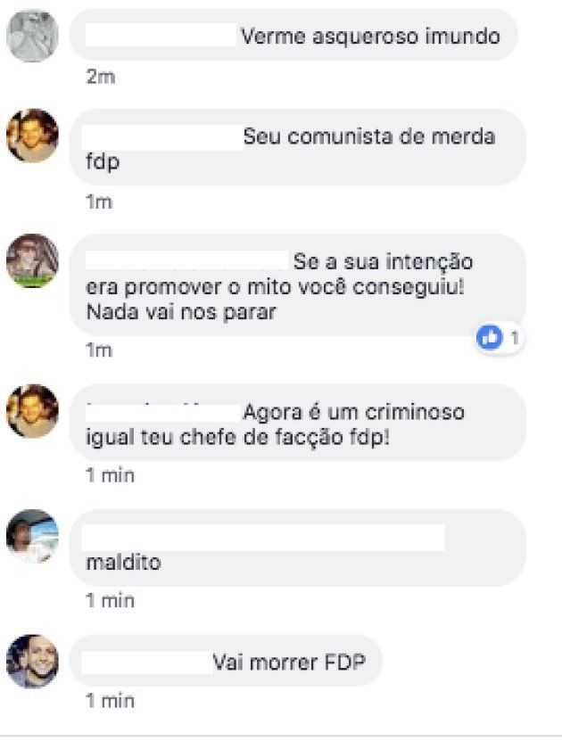 Militantes de Bolsonaro deixam ameaças em perfil de