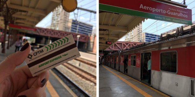 Plataforma do trem Airport Express na Estação da