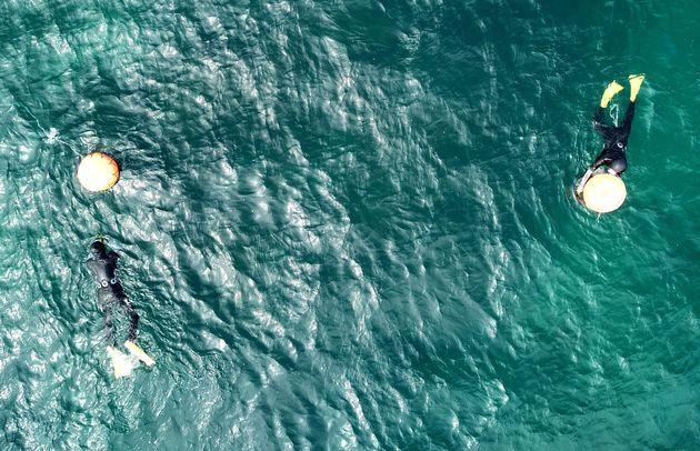 바다가 깨끗할 때인 2018년 9월5일 제주시 구좌읍 김녕 해안에서 해녀들이 해산물을 채취하고