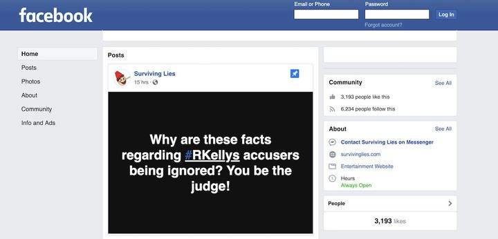 A post at the top of the page attempted to discredit Kelly's accusers.