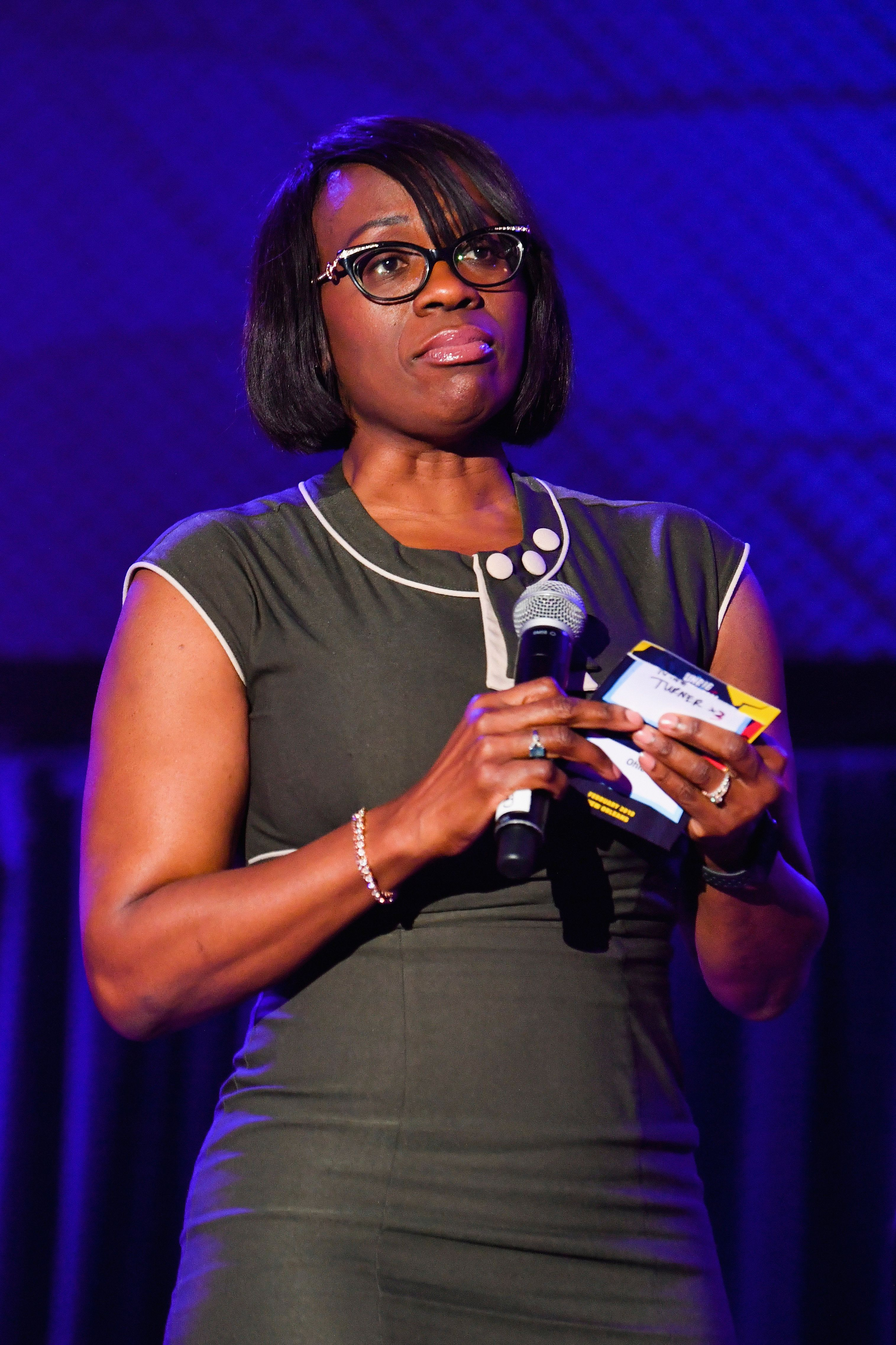 NEW ORLEANS, LA - FEBRUARY 03:  Former Ohio State Senator (D) and  President of Our Revolution Nina Turner speaks during Unrigged Live! presented by Represent.Us during the 2018 Unrig the System Summit at the McAlister Auditorium at Tulane University on February 3, 2018 in New Orleans, Louisiana.  (Photo by Erika Goldring/Getty Images)