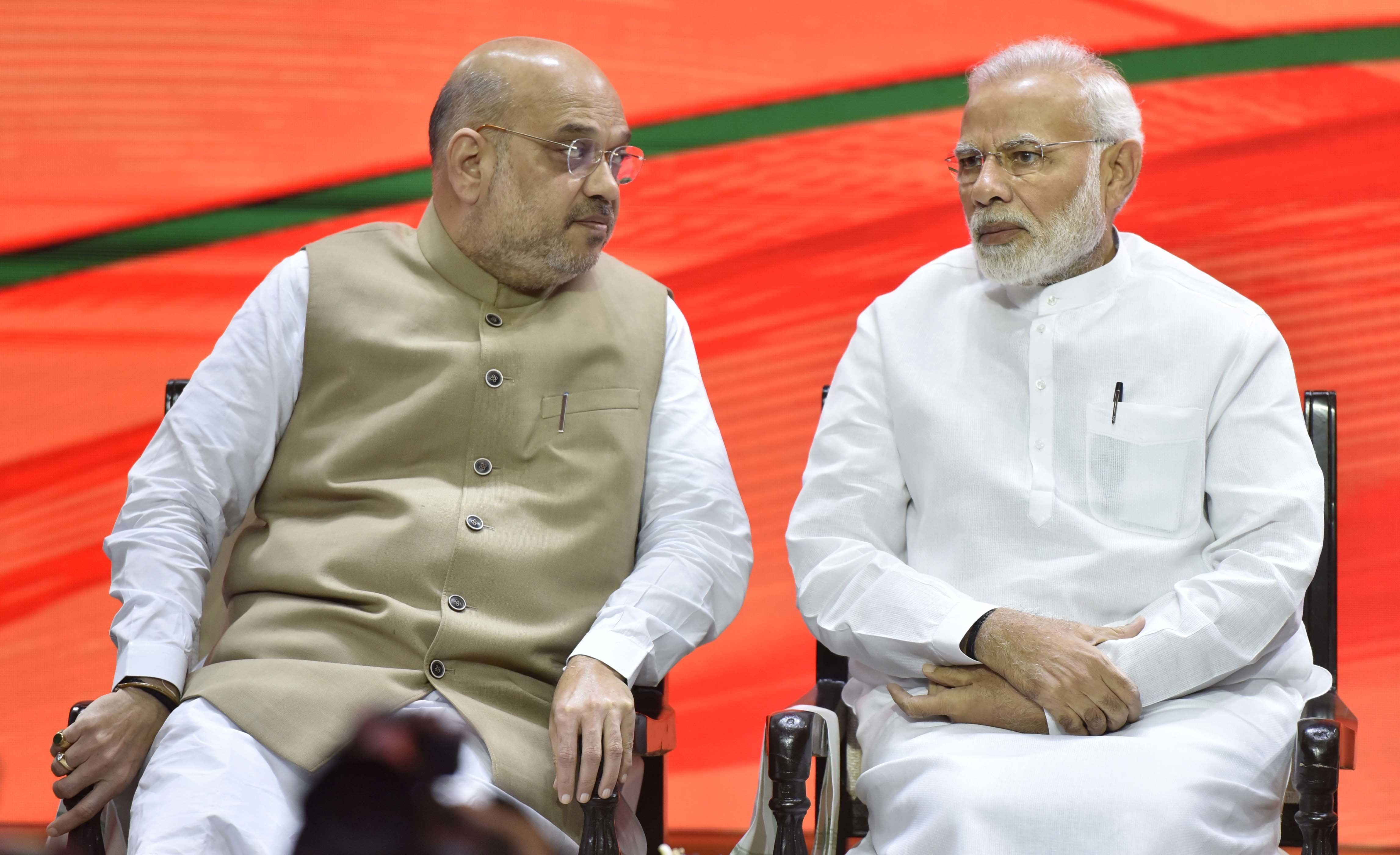 A file image of BJP chief Amit Shah and Prime Minister Narendra