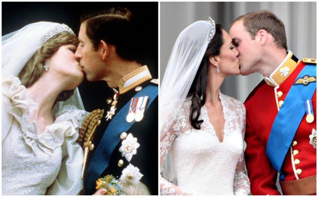 Links: Lady Di und Prinz Charles 1981. Rechts: Herzogin Kate und Prinz William