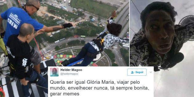 A reação de Gloria Maria ao saltar de bungee jump no Globo
