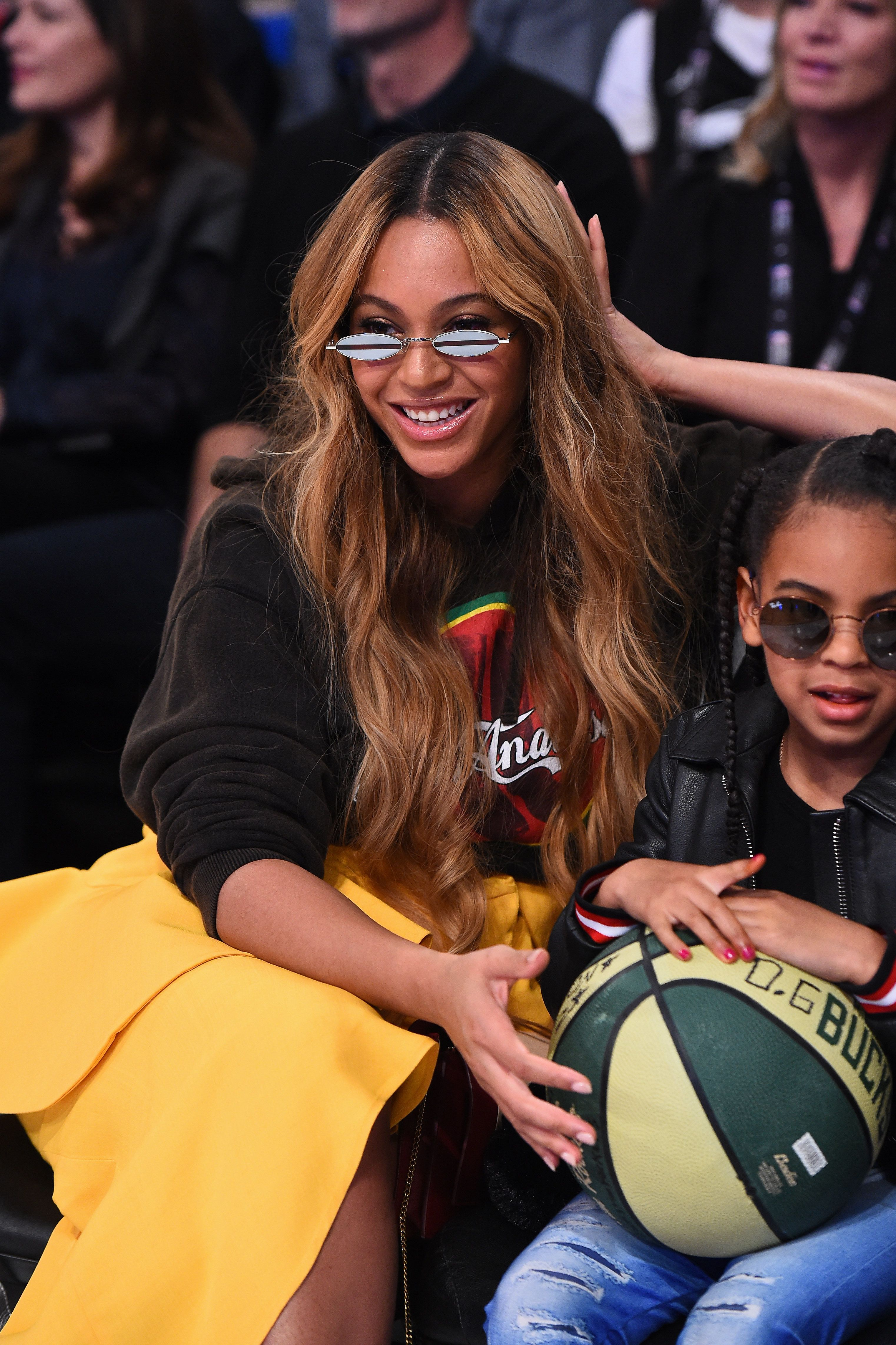 Beyoncé with daughter Blue Ivy at the NBA All-Star Game in Los Angeles in 2018.