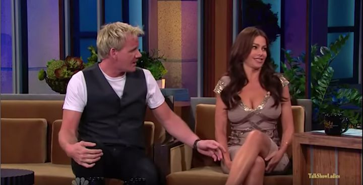 """Chef Gordon Ramsey and Sofia Vergara on """"The Tonight Show with Jay Leno"""" in 2010."""