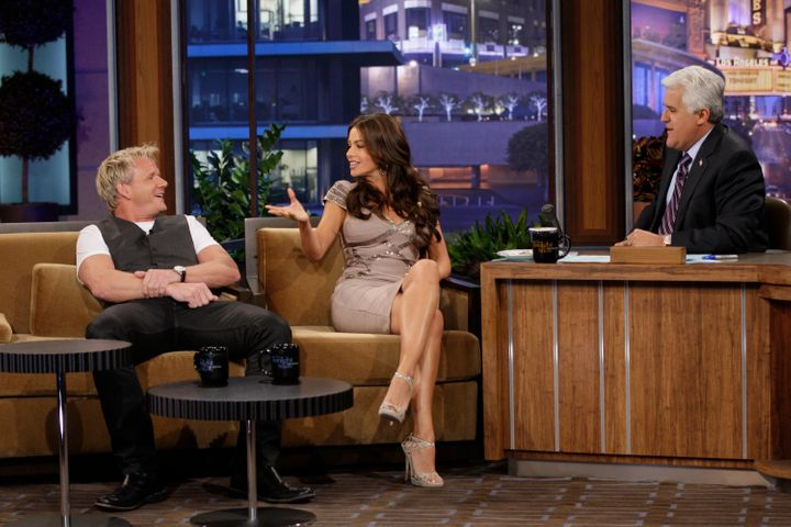 Chef Gordon Ramsay and actress Sofia Vergara during an interview with Jay Leno on August 4, 2010.