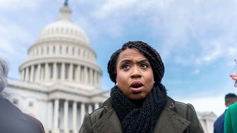 WASHINGTON, DC - On the US Capitol east front plaza 116th Congressional freshman Representatives are interviewed, like Ayanna Pressley (D-MA), after the Member-Elect class photo on the Capitol Hill in Washington, DC on Wednesday November 14, 2018. (Photo by Melina Mara/The Washington Post via Getty Images)