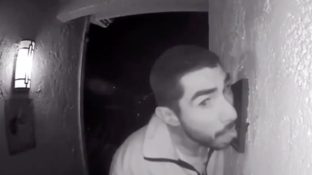 security camera catches man licking doorbell for 3 hours