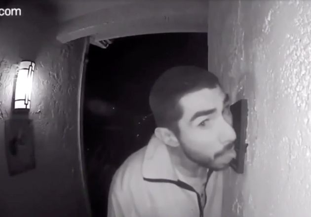 Security Camera Catches Prowling Suspect Licking Doorbell For 3