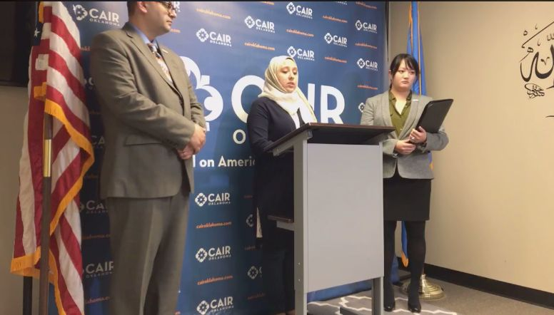 Jenan Ayesh speaks at a Jan. 4 press conference organized by the Oklahoma chapter of CAIR.