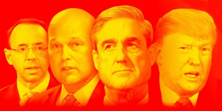 (From left) Deputy Attorney General Rod Rosenstein, acting Attorney General Matt Whitaker, special counsel Robert Mueller and President Donald Trump.