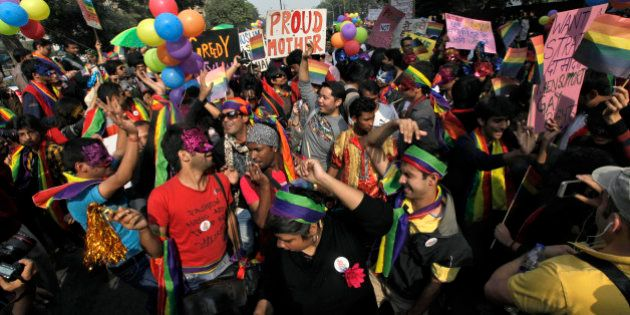 Participants gather for the 5th Delhi Queer Pride parade in New Delhi, India, Sunday, Nov. 25, 2012....
