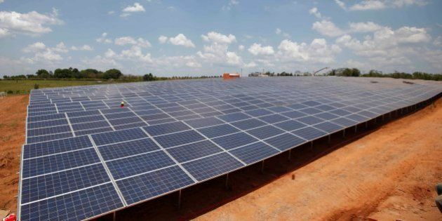 Solar panels sit at the government-run Fotovoltaica Solar Plant in Cobija, in the Amazon area of northern...