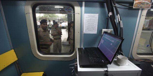 NEW DELHI, INDIA - APRIL 2: Railways Passenger using newly launch of Wi-Fi facility in Howrah Rajdhani...
