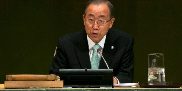United Nations Secretary-General Ban Ki-moon addresses the Climate Change Summit, at U.N. headquarters,...
