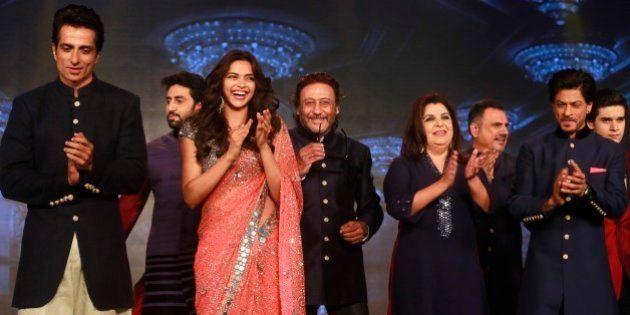 From left to right, Bollywood actors Sonu Sood, Abhishek Bachchan, Deepika Padukone, Jackie Shroff, Director...