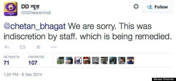 Chetan Bhagat Upset With DD News Over Half Girlfriend Remark On