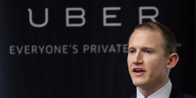 Allen Penn, head of Asia at Uber Technologies Inc., speaks during a news conference in Tokyo, Japan, on Monday, March 3, 2014. Uber Technologies, a taxi technology startup backed by Google Inc. and Amazon Chief Executive Officer Jeff Bezos, will begin services in Tokyo today, enabling non-Japanese speakers to arrange rides at the touch of a smartphone button. Photographer: Junko Kimura-Matsumoto/Bloomberg via Getty Images