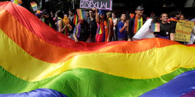 Demonstrators carry a nearly 15-meter- (50-foot-) long, rainbow-colored banner at the 5th Delhi Queer...