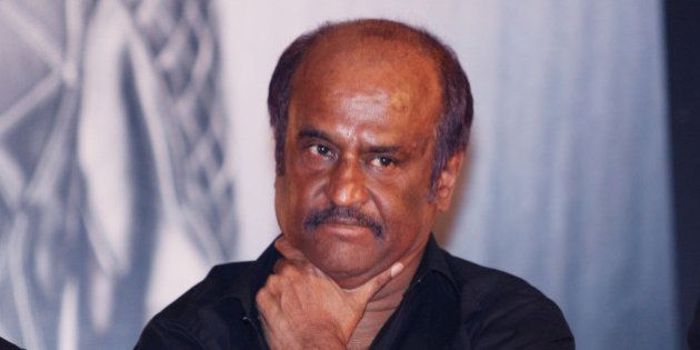 MUMBAI, INDIA � AUGUST 14: Rajinikanth during the music launch of the film 'Robot' in Mumbai on August...