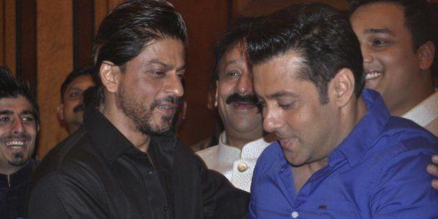 MUMBAI, INDIA JULY 06: Sharukh Khan and Salman Khan at MLA Baba Siddiquis annual Iftar Party in Mumbai.(Photo...