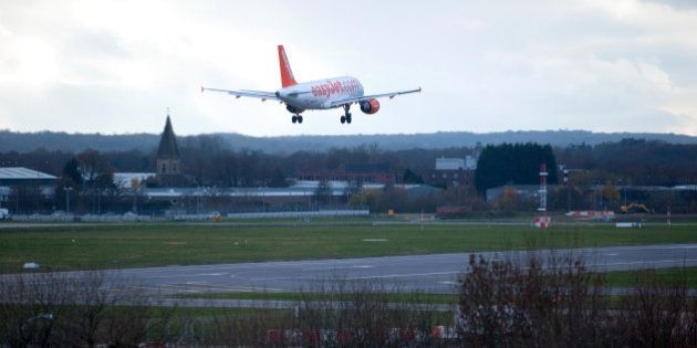 An Easyjet plane lands at Gatwick Airport in southern England on December 7, 2013. A 'technical problem'...