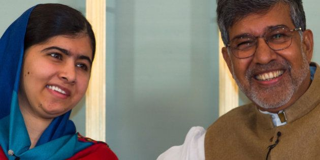 OSLO, NORWAY - DECEMBER 09: Malala Yousafzai and Kailash Satyarthi attends the Nobel Peace Prize press...