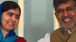 Photo of Kailash Satyarthi Consoling a Weeping Malala Goes