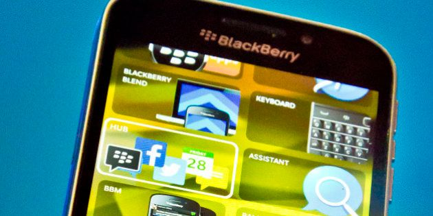 BlackBerry's new BlackBerry Classic phone is displayed during a news conference, Wednesday, Dec. 17,...