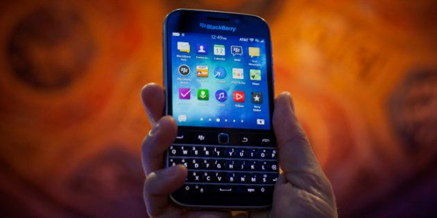 The BlackBerry Ltd. Classic smartphone is displayed for a photograph during an event in New York, U.S.,...